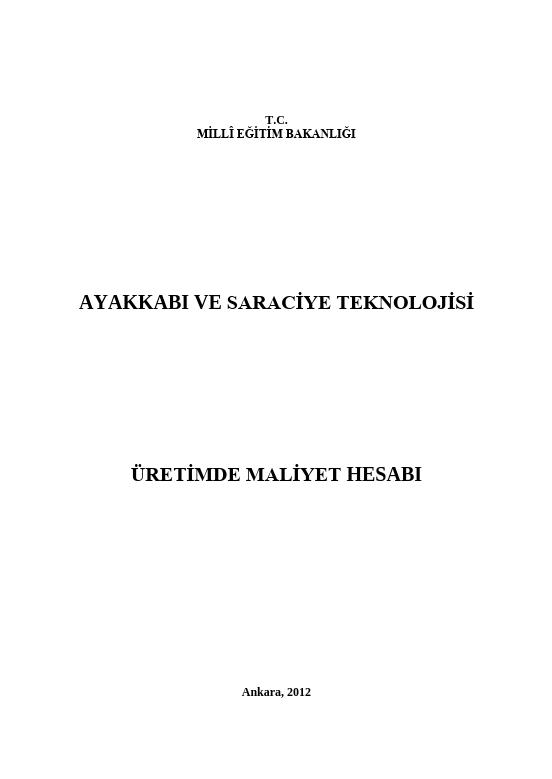 Üretimde Maliyet Hesabı (ayakkabı Saraciye) ders notu pdf