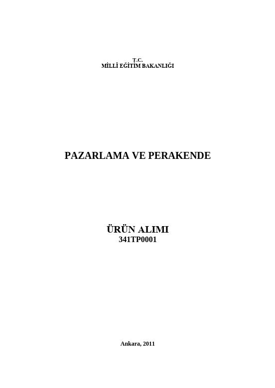 Ürün Alımı ders notu pdf