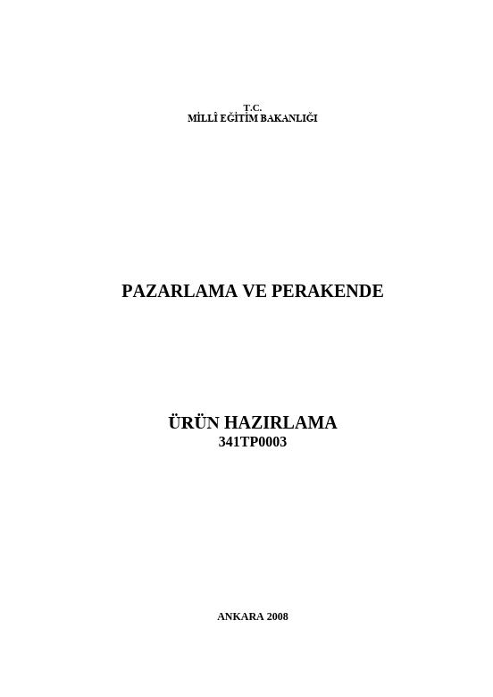 Ürün Hazırlama ders notu pdf