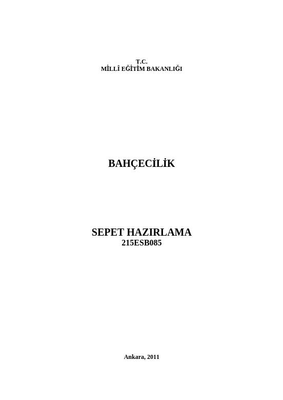 Sepet Hazırlama ders notu pdf