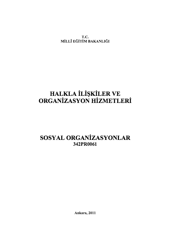 Sosyal Organizasyonlar