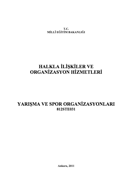 Yarışma Ve Spor Organizasyonu