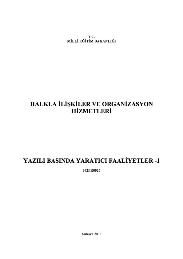 Yazılı Basında Yaratıcı Faaliyetler 1 ders notu pdf