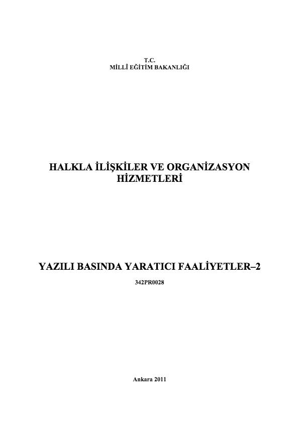 Yazılı Basında Yaratıcı Faaliyetler 2 ders notu pdf