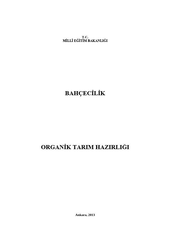 Organik Tarım Hazırlığı