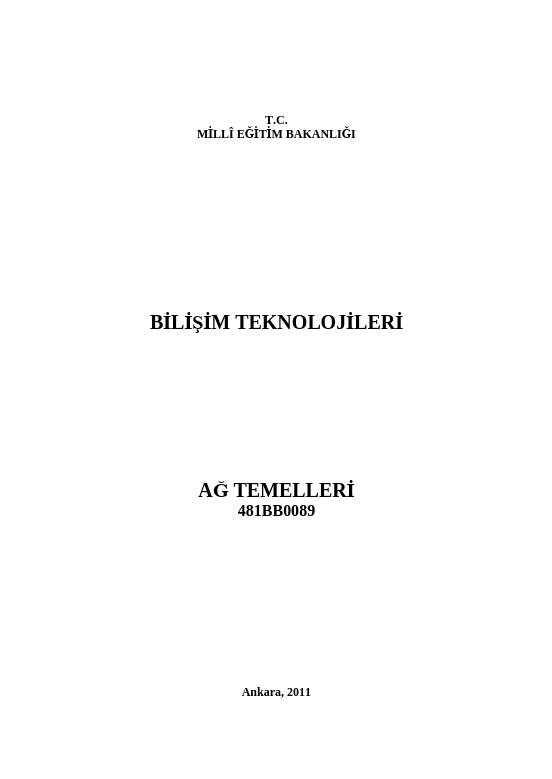 Ağ Temelleri ders notu pdf