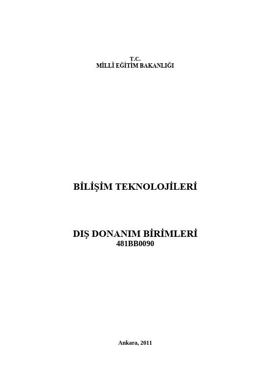 Dış Donanım Birimleri ders notu pdf
