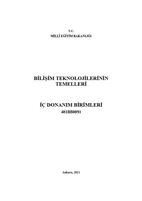 İç Donanım Birimleri ders notu pdf