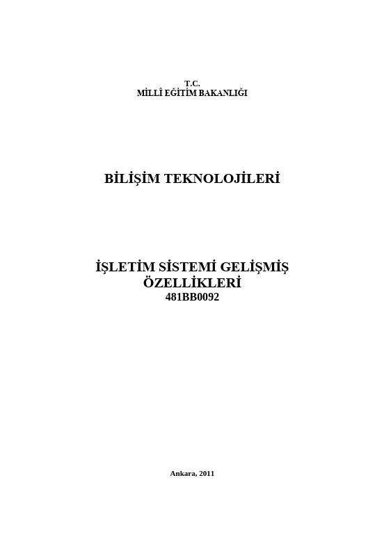 İşletim Sistemi Gelişmiş Özellikleri ders notu pdf