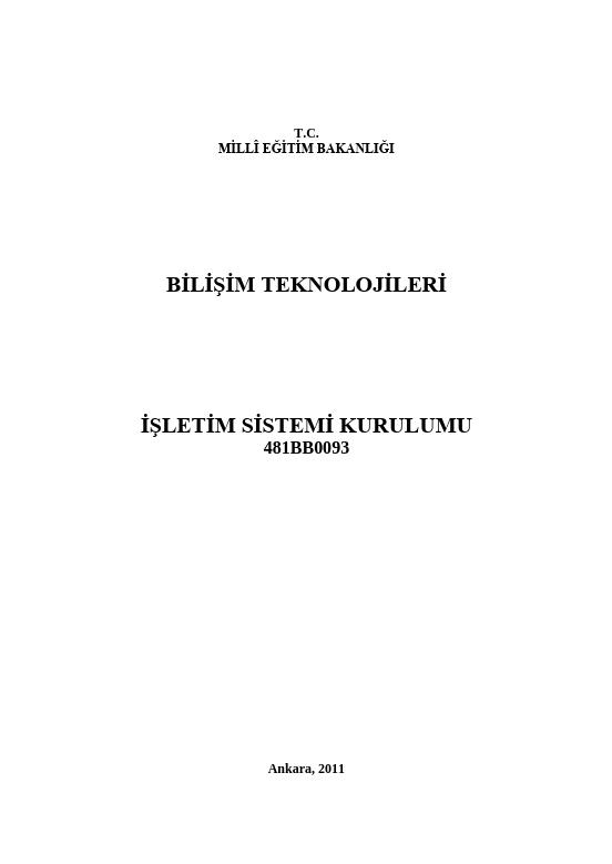 İşletim Sistemi Kurulumu ders notu pdf