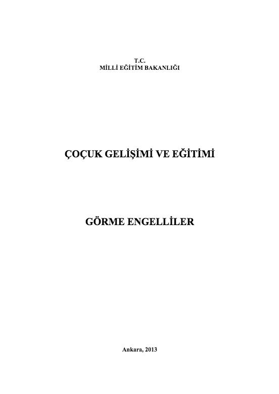 Görme Engelliler ders notu pdf
