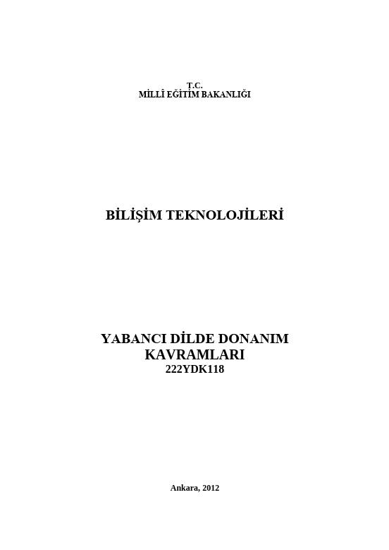 Yabancı Dilde Donanım Kavramları ders notu pdf