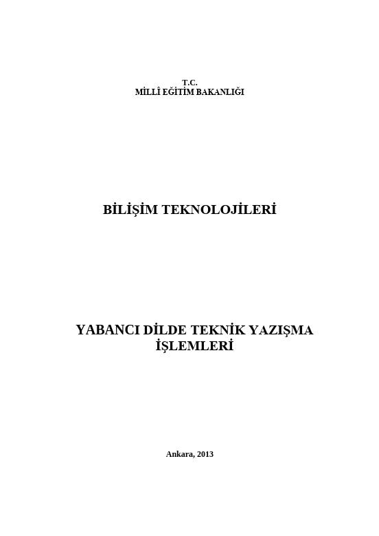Yabancı Dilde Teknik Yazışma İşlemleri ders notu pdf