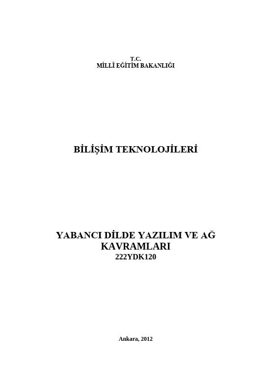 Yabancı Dilde Yazılım Ve Ağ Kavramları ders notu pdf