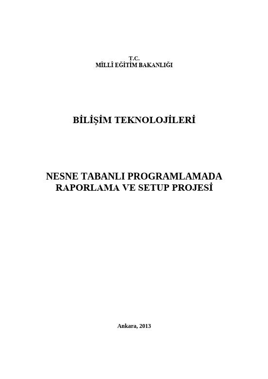 Nesne Tabanlı Programlamada Raporlama Ve Setup Projesi