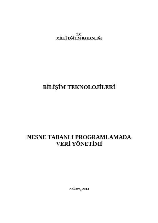 Nesne Tabanlı Programlamada Veri Yönetimi
