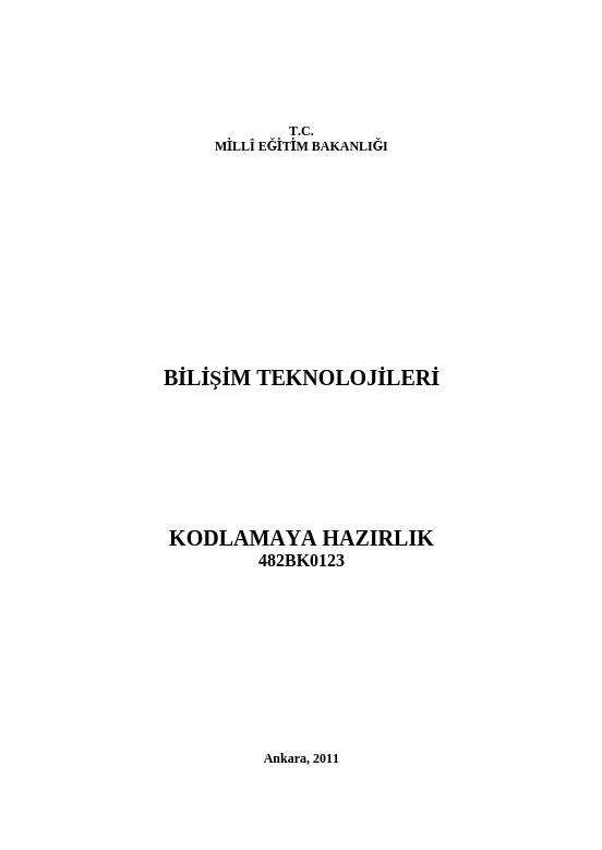 Kodlamaya Hazırlık ders notu pdf