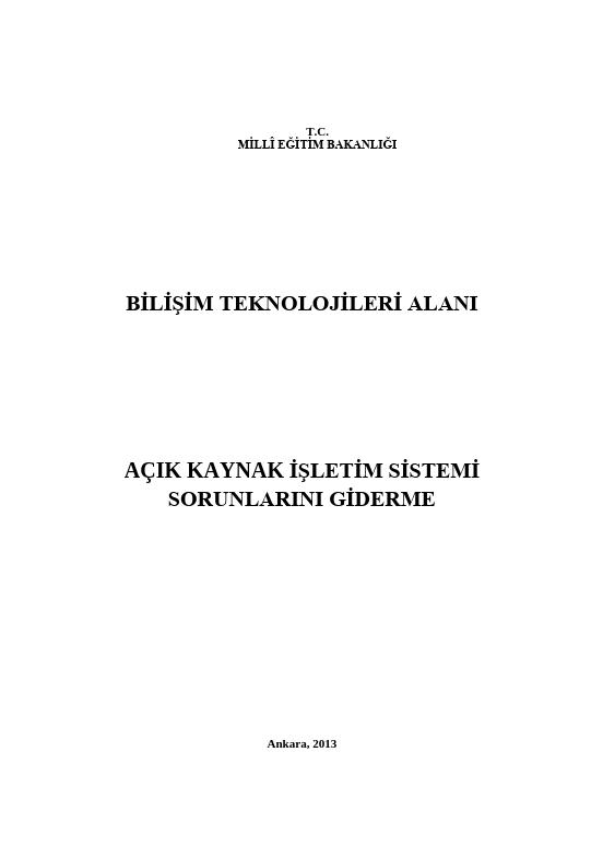 Açık Kaynak İşletim Sistemi Sorunlarını Giderme ders notu pdf