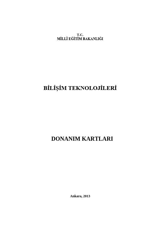 Donanım Kartları ders notu pdf