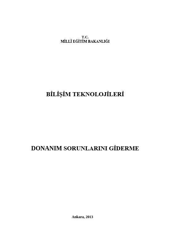 Donanım Sorunlarını Giderme ders notu pdf