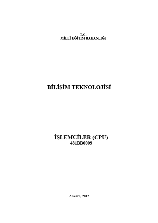 İşlemciler (cpu) ders notu pdf