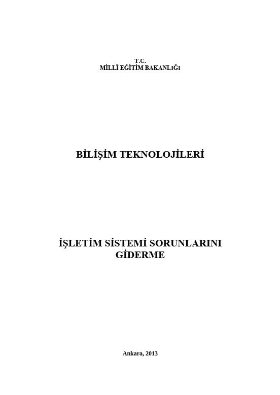 İşletim Sistemi Sorunlarını Giderme ders notu pdf
