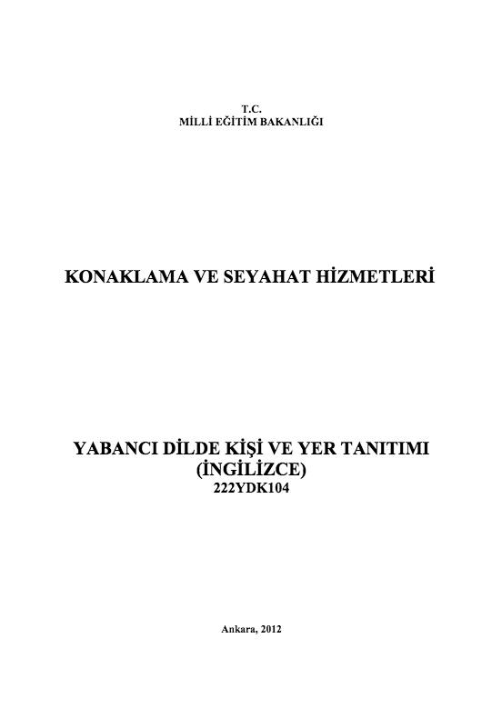 Yabancı Dilde Kişi Ve Yer Tanıtımı ders notu pdf