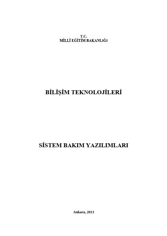 Sistem Bakım Yazılımları ders notu pdf