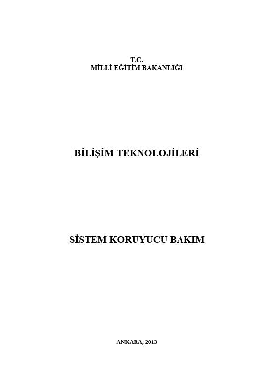 Sistem Koruyucu Bakım ders notu pdf