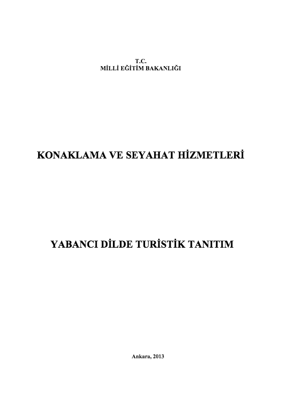 Yabancı Dilde Turistik Tanıtım ders notu pdf
