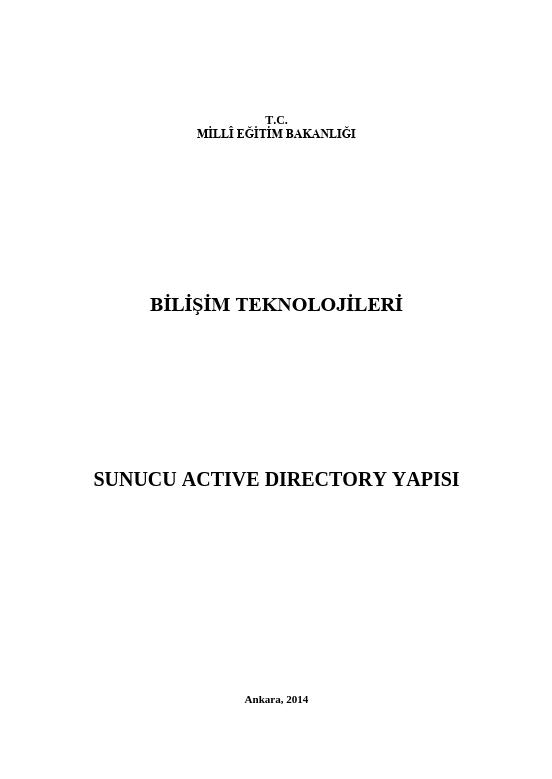 Sunucu Active Directory Yapısı ders notu pdf