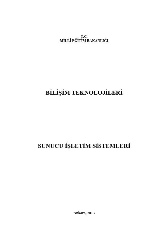 Sunucu İşletim Sistemleri ders notu pdf
