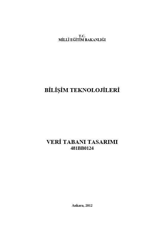 Veritabanı Tasarımı ders notu pdf
