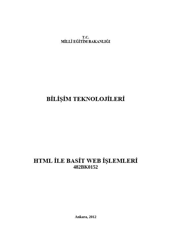 Html Ile Basit Web İşlemleri ders notu pdf