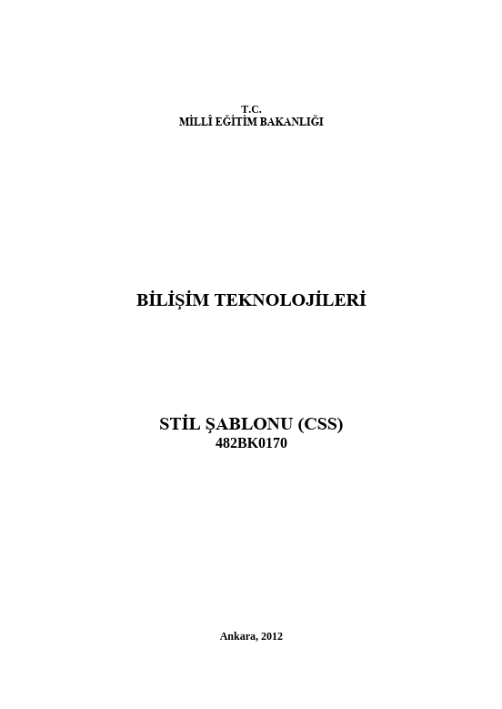 Stil Şablonu (css) ders notu pdf