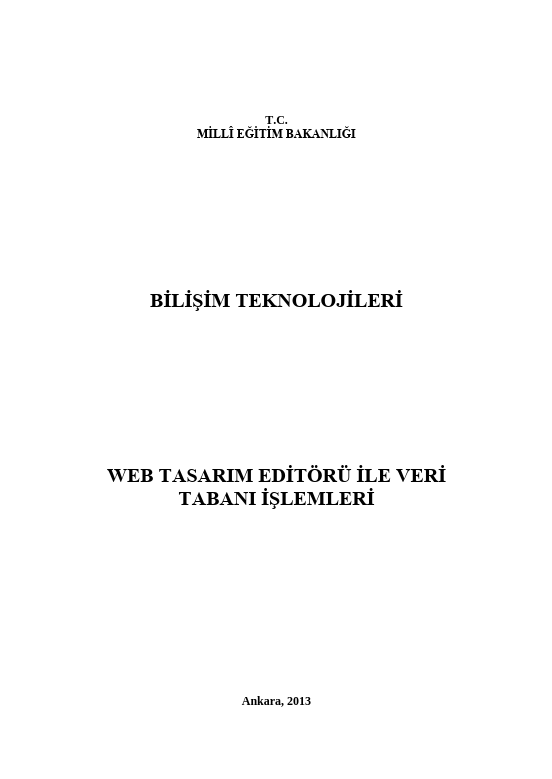 Web Tasarım Editörü Ile Veri Tabanı İşlemleri ders notu pdf