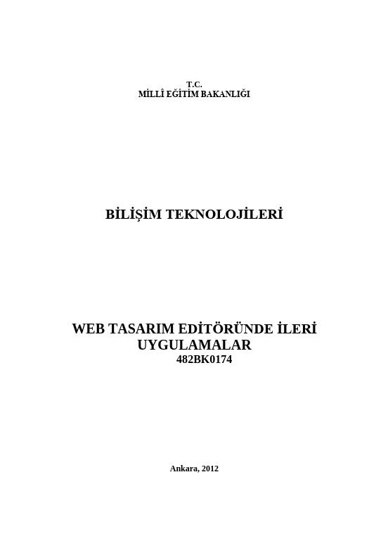 Web Tasarım Editöründe İleri Uygulamalar ders notu pdf