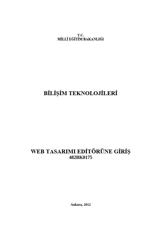 Web Tasarım Editörüne Giriş ders notu pdf