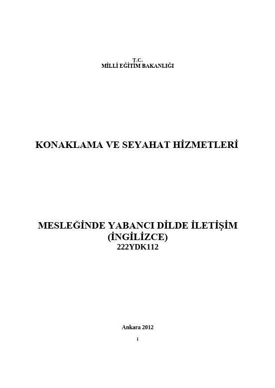Mesleğinde Yabancı Dilde İletişim (İngilizce) ders notu pdf