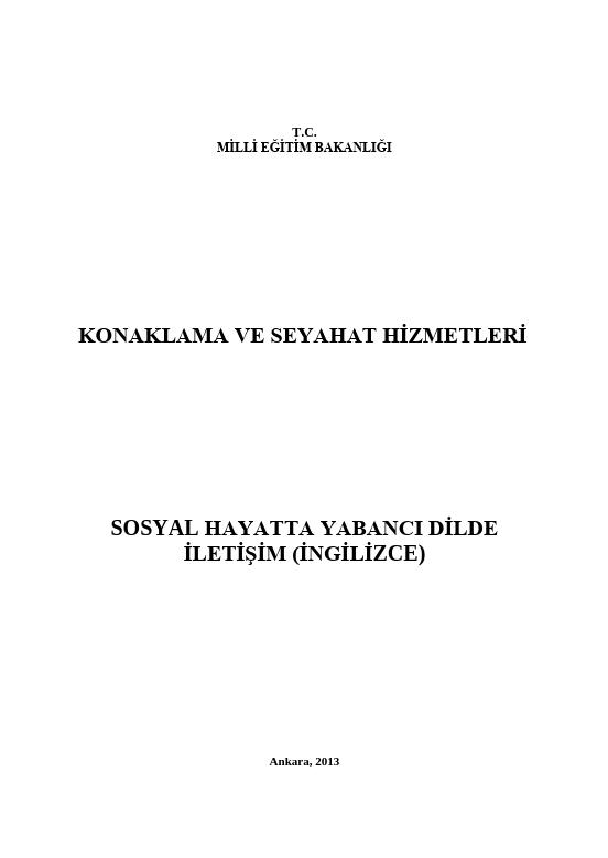 Sosyal Hayatta Yabancı Dilde İletişim (İngilizce) ders notu pdf