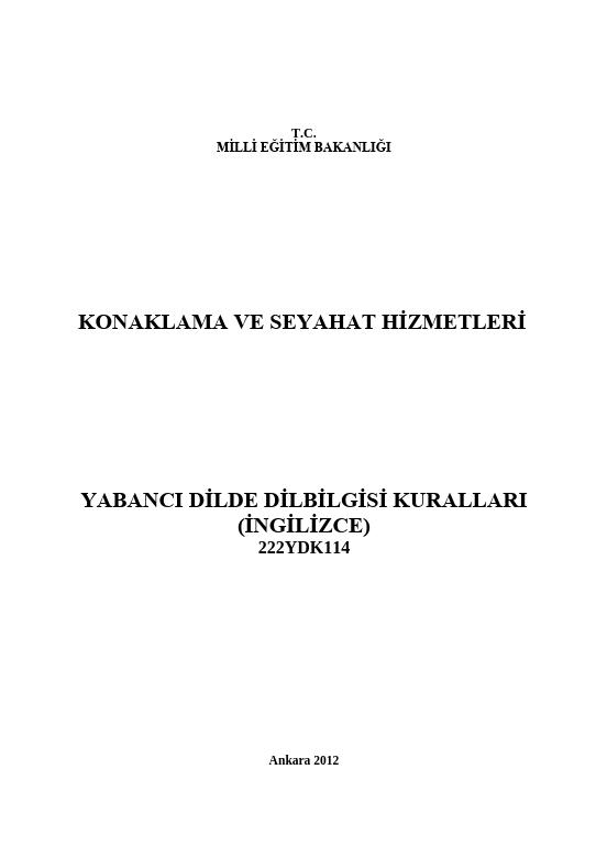 Yabancı Dilde Dilbilgisi Kuralları (İngilizce) ders notu pdf