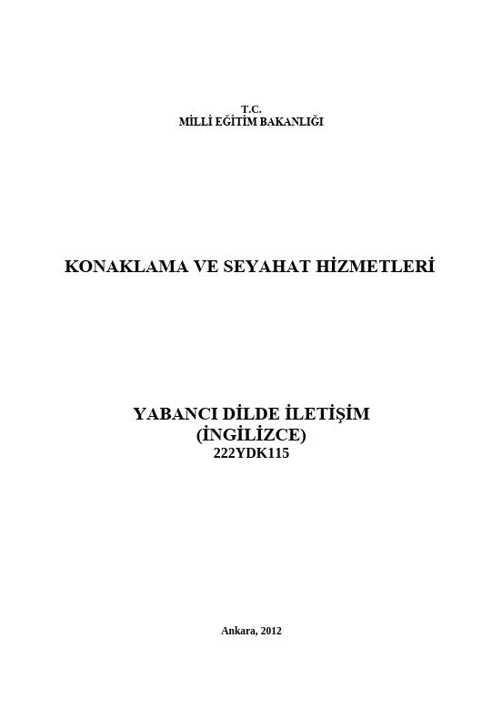 Yabancı Dilde İletişim (İngilizce) ders notu pdf