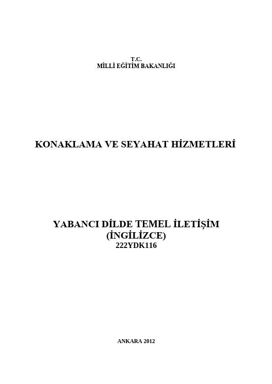 Yabancı Dilde Temel İletişim (İngilizce) ders notu pdf