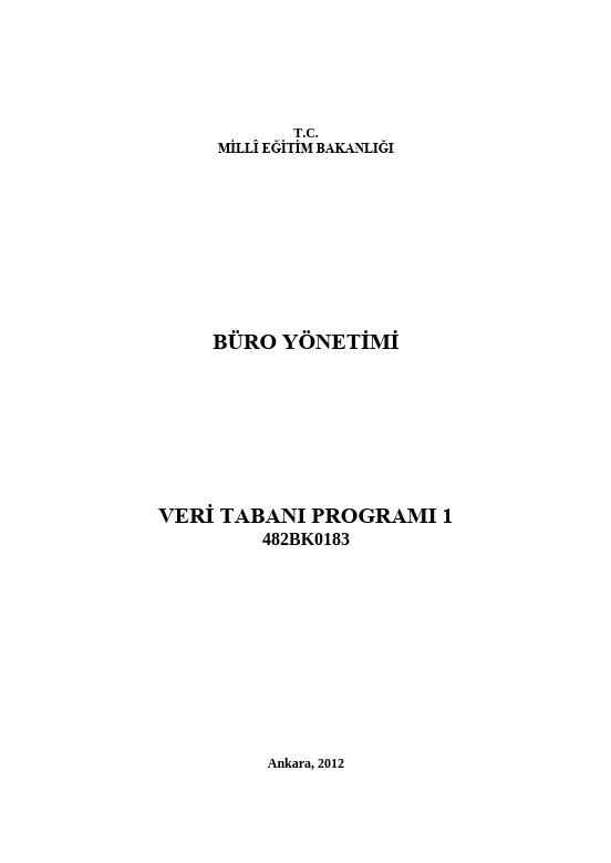 Veri Tabanı Programı -1