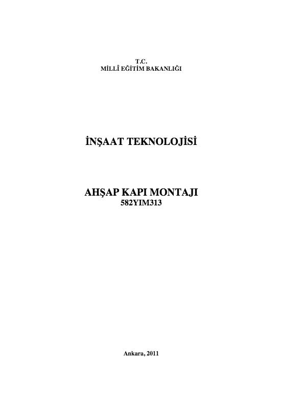 Ahşap Kapı Montajı ders notu pdf