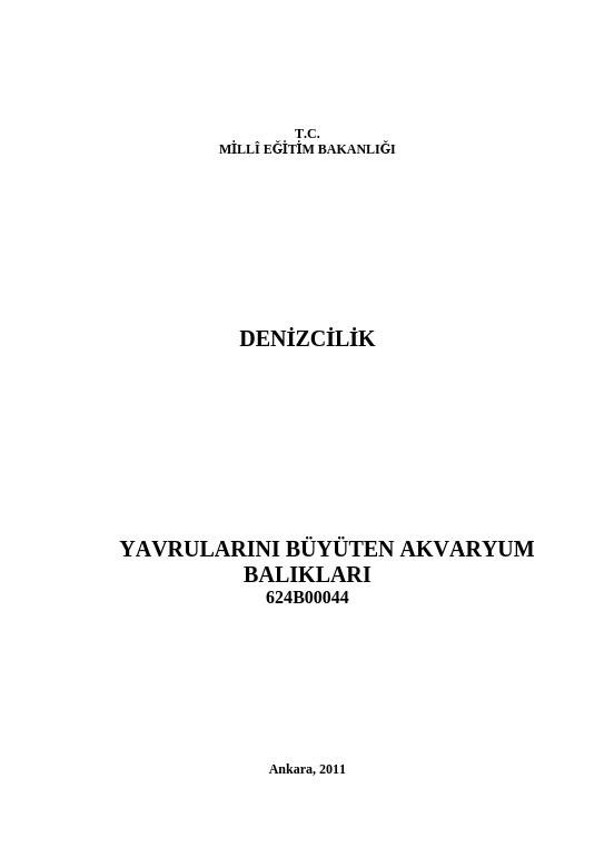 Yavrularını Büyüten Akvaryum Balıkları ders notu pdf