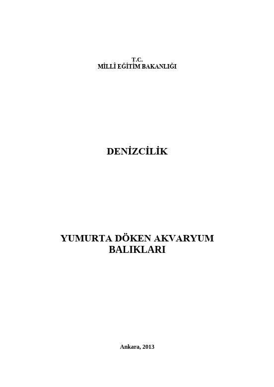 Yumurta Döken Akvaryum Balıkları ders notu pdf