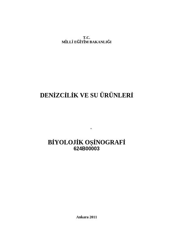 Biyolojik Oşinografi ders notu pdf