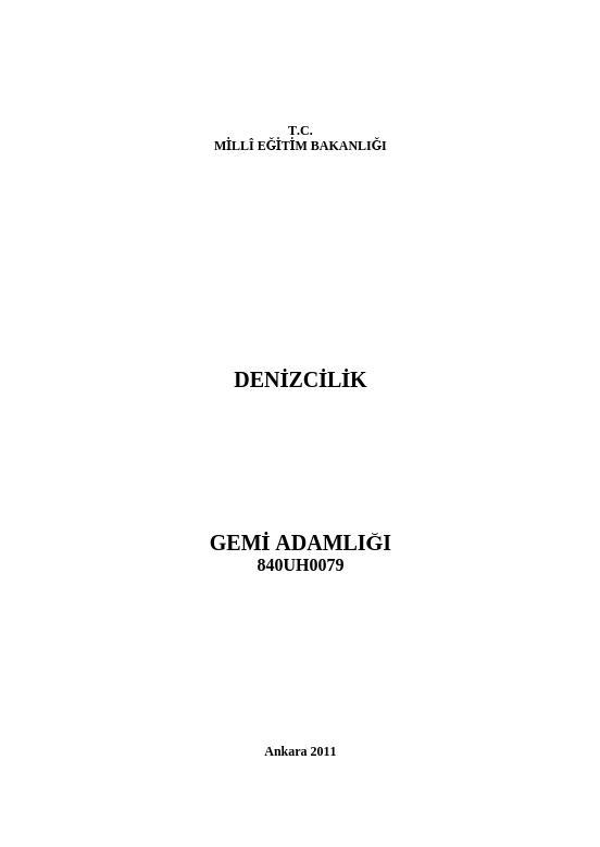 Gemi Adamlığı ders notu pdf