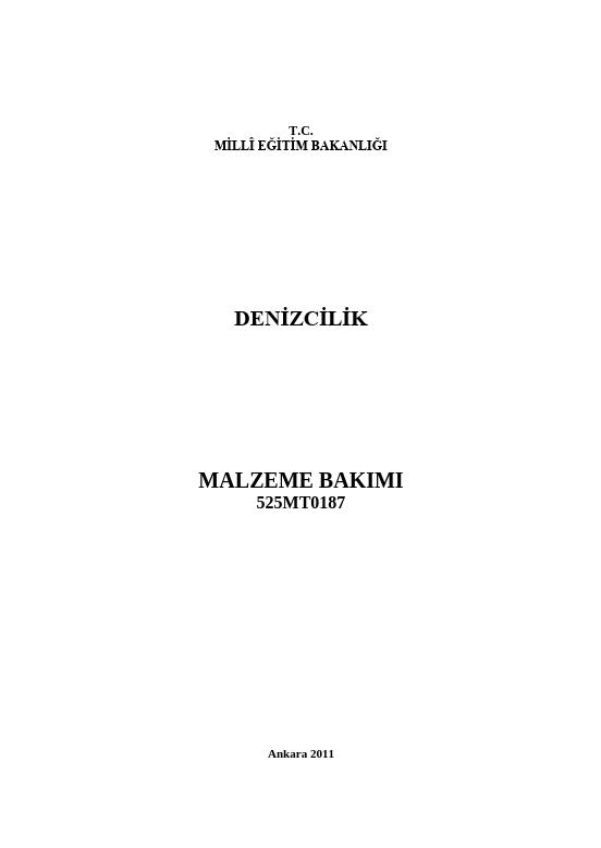 Malzeme Bakımı ders notu pdf
